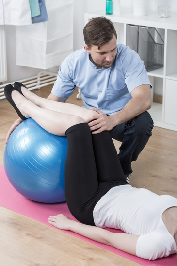 Working with exercise ball
